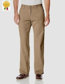Lee Mens Pants Weekend Chino Straight Fit Flat Front Dark Kh