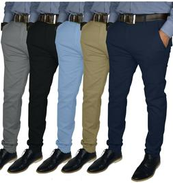 Mens Slim FIT Stretch Chino Trousers Casual Flat Front Flex