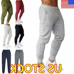 Mens Slim Fit Tracksuit Sport Pants Gym Skinny Jogging Jogge
