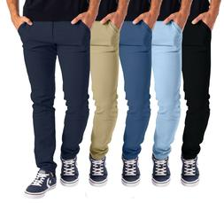 Mens Stretch Skinny Slim Fit Chino Pants Flat Front Casual S