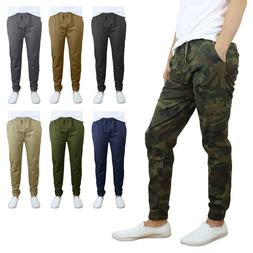 Mens Twill Active Jogger Pants w/ Tapered Ankles Extra Stret