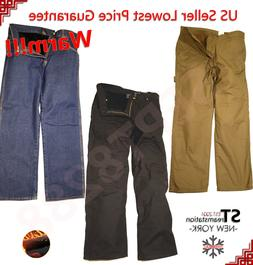 Mens Fleece Lined Carpenter Pants Work Pants Relaxed Fit Win