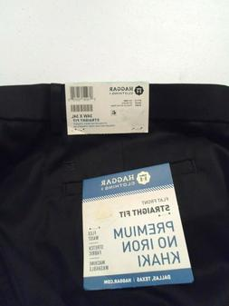 NEW Haggar Men's Dress Pants Size 34x34 Straight Fit Stretch