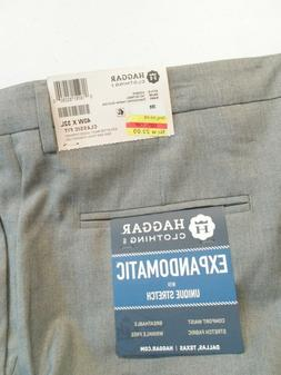 NEW Haggar Men's Dress Pants Size 40x30 Gray Expandomatic Co