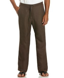 NEW Cubavera Men's Solid Linen-Blend Drawstring Pants Brown