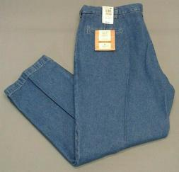 "NEW Haggar Work to Weekend Classic Denim Trouser 42""X30"" Ple"