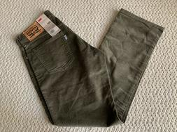 NWT Men's Levi's 514 Olive Green Corduroy Slim Fit Straight
