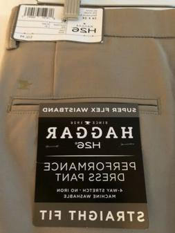 NWT Men's Pants Haggar H26 Khaki Super Flex Waistband Slim F
