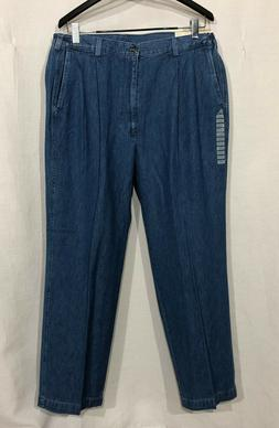 NWT Mens Haggar 38 x 31 Blue Pleated Side Elastic Jeans Khak