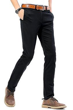 INFLATION Mens Slim Tapered Stretch Flat Front Casual Pants