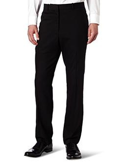Perry Ellis Men's Solid herringbone Slim Fit Pant, Black, 29