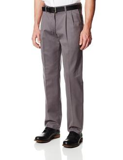 Lee Men's Stain Resistant Relaxed Fit Pleated Pant, Grey, 33