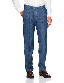 Haggar Men's Stretch Denim Expandable Waist Classic Fit Plea