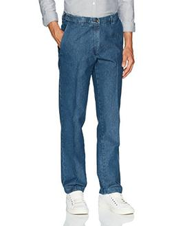 Haggar Men's Stretch Denim Expandable Waist Classic Fit Flat